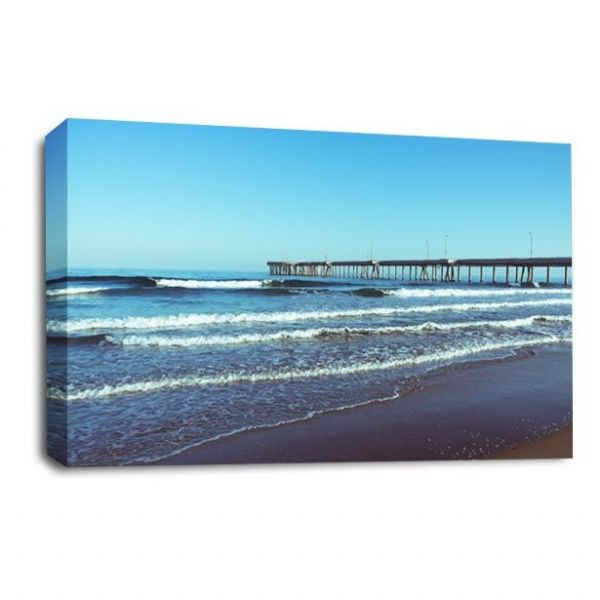 Sunset Landscape Canvas Wall Art Picture Beach Pier Seaside Print
